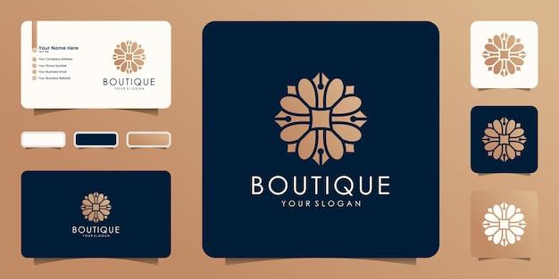 Diseño de flores de oro de boutique de belleza de lujo, icono de tarjeta de visita y plantilla