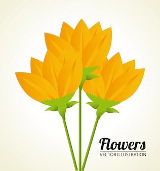 Diseño de flores sobre ilustración beige.
