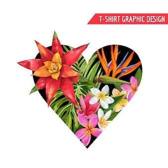 Diseño de flores tropicales del corazón floral de primavera