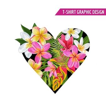 Diseño de flores tropicales de corazón floral de verano