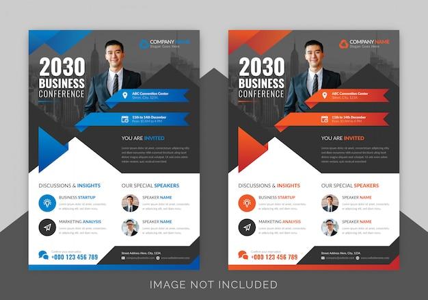 Diseño de flyer de conferencia de negocios corporativos