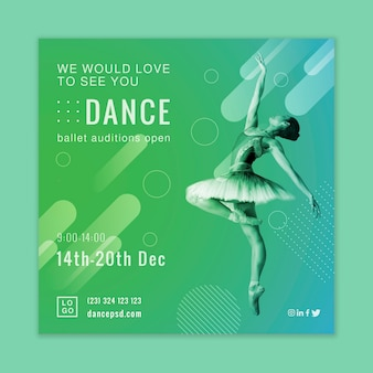 Diseño de flyer cuadrado de audiciones de ballet.