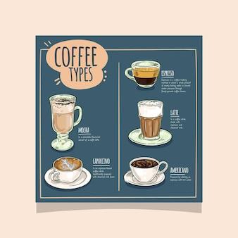 Diseño de flyer cuadrado de cafetería.