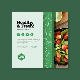 Diseño de flyer cuadrado de comida bio y saludable.