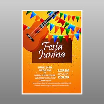 Diseño de flyer de festa junina