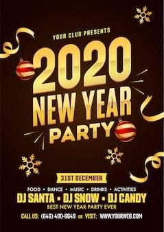 Diseño de flyer de fiesta de año nuevo 2020 con adornos, copos de nieve dorados y detalles de eventos sobre fondo de patrón de franja marrón.