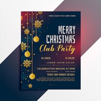 Diseño de flyer fiesta de feliz navidad