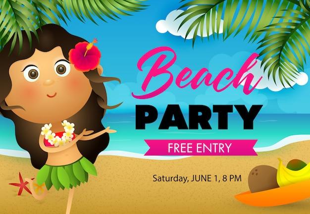 Diseño de flyer fiesta de playa. chica hawaiana bailando