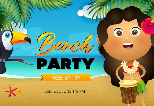 Diseño de flyer fiesta de playa. niña hawaiana tocando el tambor