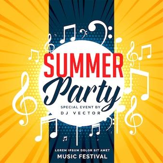 Diseño de flyer fiesta de verano con notas musicales.