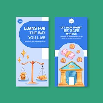 Diseño de flyer con finanzas, negocios, moneda y banca ilustración acuarela.