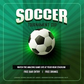 Diseño de flyer de fondo de fútbol verde