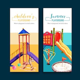 Diseño de flyer infantil con bandera, pelota, arenero, ilustración de acuarela de gimnasio de selva.