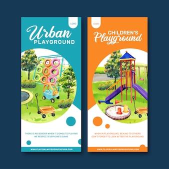 Diseño de flyer infantil con ilustración acuarela.