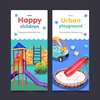 Diseño de flyer para juegos con tobogán, pequeñas tikes, sandbox, acuarela, ilustración.