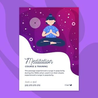 Diseño de flyer de meditación y atención plena.