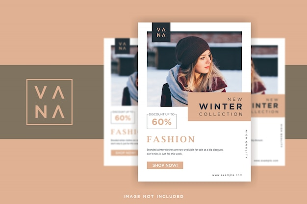 Diseño de flyer de moda con un estilo minimalista.