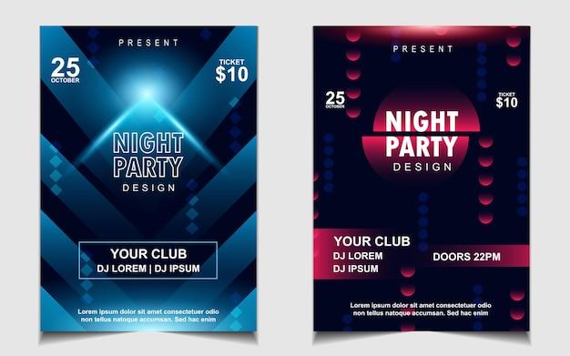 Diseño de flyer o cartel de música de fiesta de baile nocturno colorido