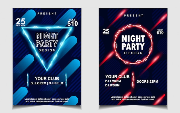 Diseño de flyer o cartel de música de fiesta de luz de neón colorida