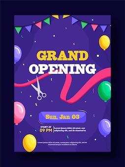 Diseño de flyer o plantilla de fiesta de gran inauguración con detalles del evento
