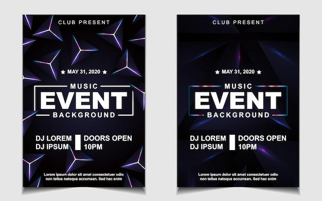 Diseño de flyer o póster de música de fiesta de baile nocturno colorido