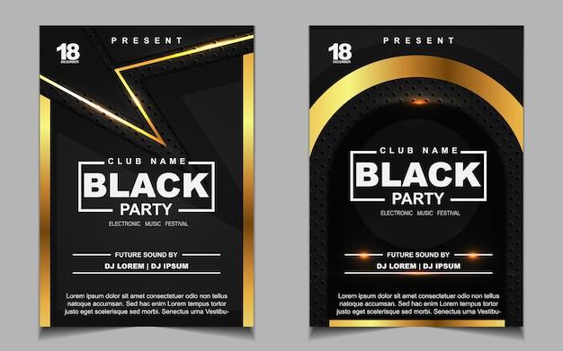 Diseño de flyer o póster de música de fiesta de baile nocturno negro y dorado de lujo