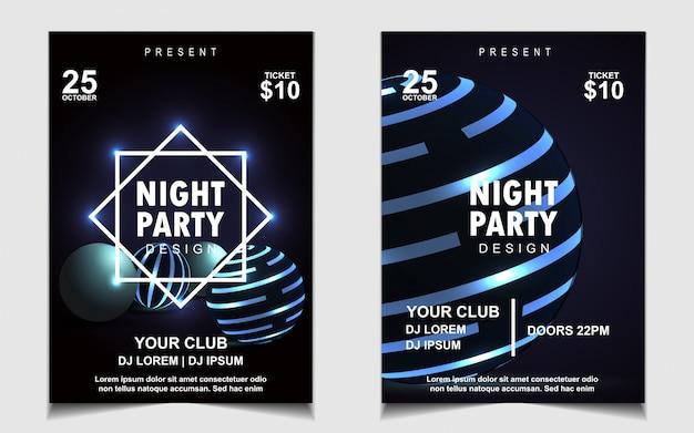 Diseño de flyer o póster de música de fiesta de baile nocturno