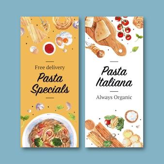 Diseño de flyer de pasta con queso, ilustración acuarela de ajo.