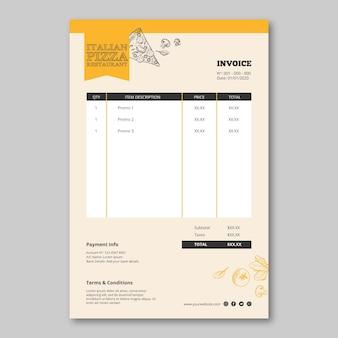 Diseño de flyer de plantilla de restaurante italiano