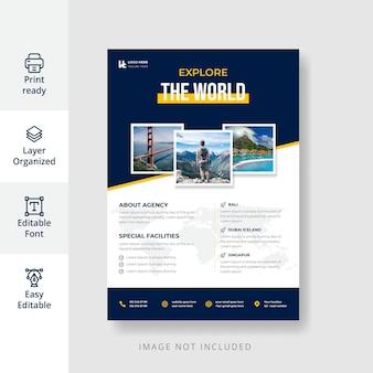 Diseño de flyer promocional de agencia de viajes creativo y moderno.
