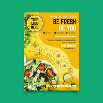 Diseño de flyer de restaurante de comida saludable