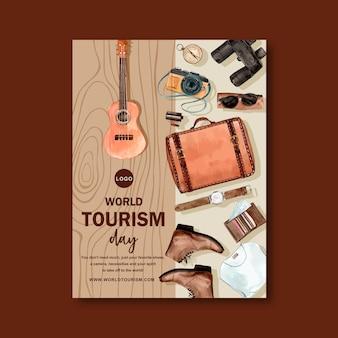 Diseño de flyer de turismo con madera marrón, ukelele y cuero.