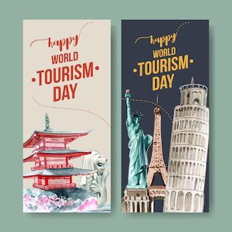 Diseño de flyer turístico con pagoda chureito, merlion, torre inclinada de pisa.
