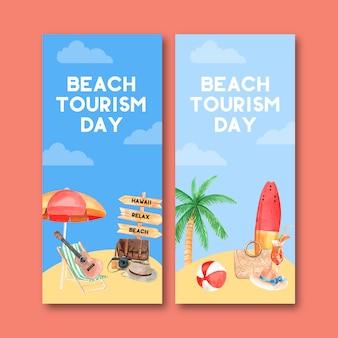 Diseño de flyer turístico con sombrilla, silla, guitarra, tabla de surf, pelota de playa.