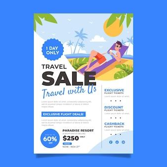 Diseño de flyer de venta de viajes.