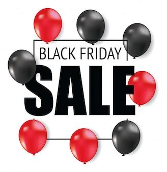 Diseño de flyer de viernes negro con globo.