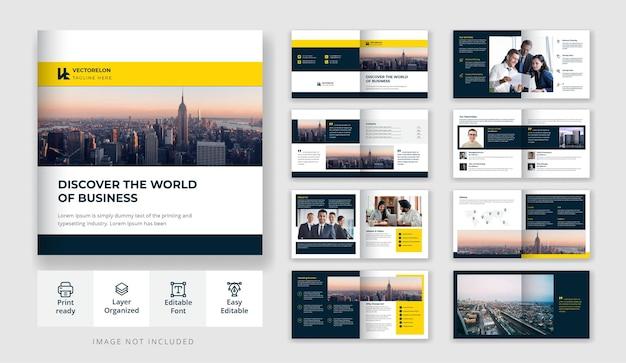 Diseño de folleto de 16 páginas cuadrado empresarial o corporativo mínimo