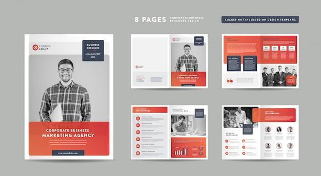 Diseño de folleto comercial de 8 páginas | informe anual y perfil de la empresa | folleto y plantilla de diseño de catálogo