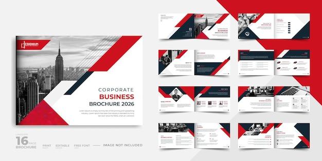Diseño de folleto comercial abstracto de 16 páginas de paisaje vector premium