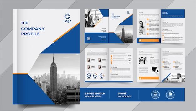 Diseño de folleto comercial azul de 8 páginas