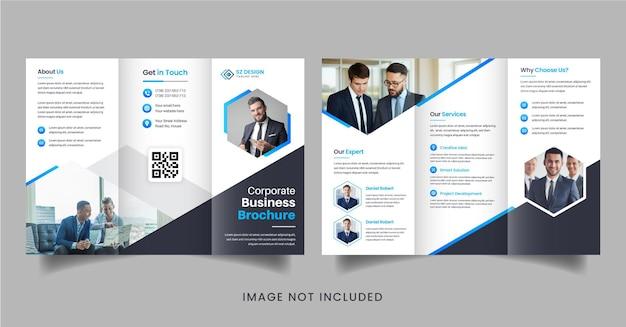 Diseño de folleto comercial creativo con formas geométricas de color azul y negro