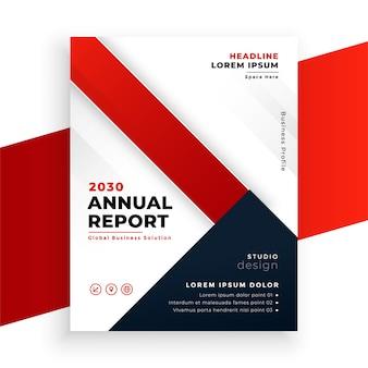 Diseño de folleto comercial de informe anual de color rojo geométrico