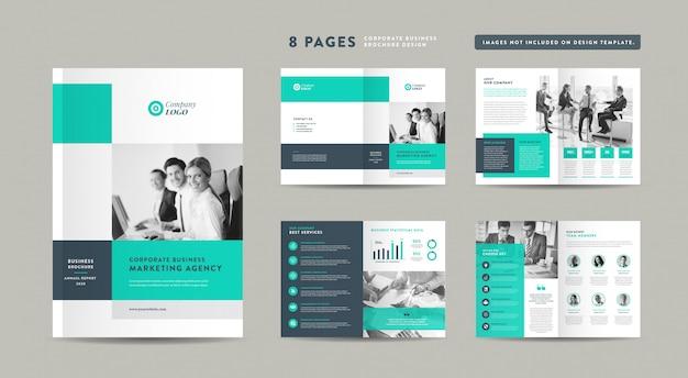 Diseño de folleto comercial de ocho páginas | informe anual y perfil de la empresa | folleto y plantilla de diseño de catálogo