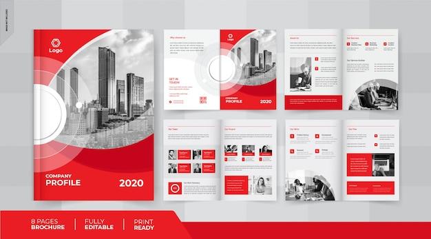 Diseño de folleto comercial rojo de 8 páginas