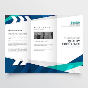 Diseño de folleto comercial triple azul moderno