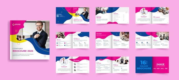 Diseño de folleto corporativo bi-fold cuadrado.