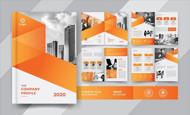 Diseño de folleto corporativo de ocho páginas