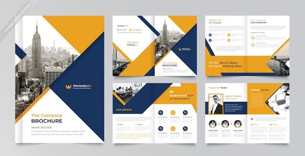 Diseño de folleto corporativo de páginas plantilla premium