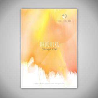 Diseño de folleto empresarial con textura de acuarela