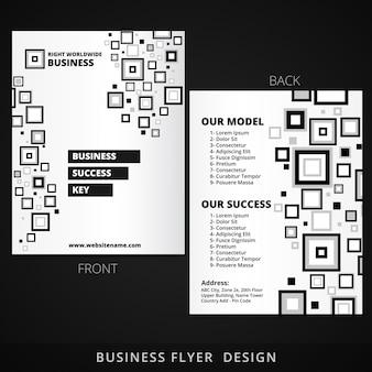 Diseño de folleto con formas cuadradas abstractas